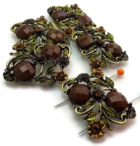 5_Antique_Gold_with_Brown_Faceted_Lucite_2_Hole_Beads_Slider_Beads_m177-N2