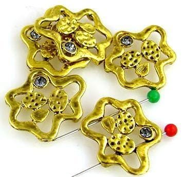 5 gold 2 hole unique shape slider beads 9827-N5