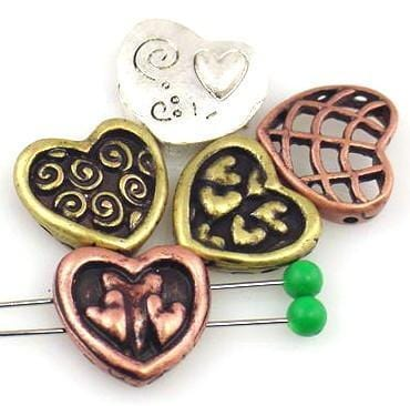 5 hearts antique silver antique gold copper inspirational 2 hole slider beads 8948-N4