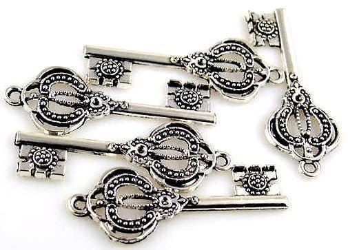 5 key charms skeletal key 10694-CL4