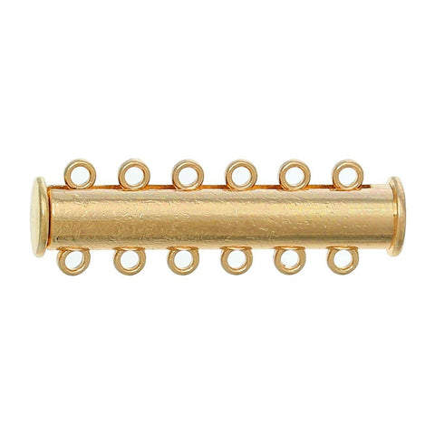 "5 Magnetic Clasps 6 strand Cylinder Gold color Multihole 35.0mm(1 3/8"") x 11.0mm( 3/8"")"