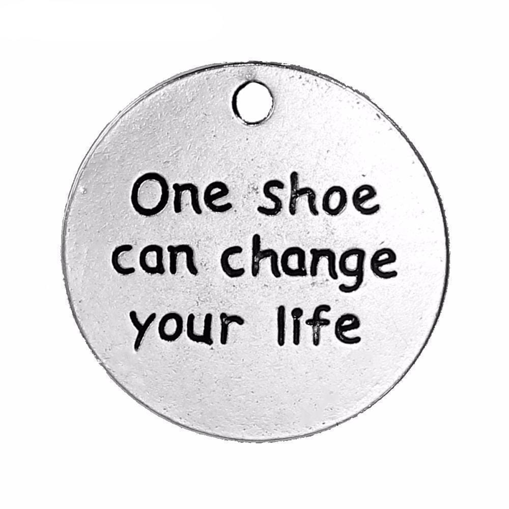 "5_pc_""_One_Shoe_Can_Change_Your_Life_""_Carved_24mm_Dia,_5_PCs"