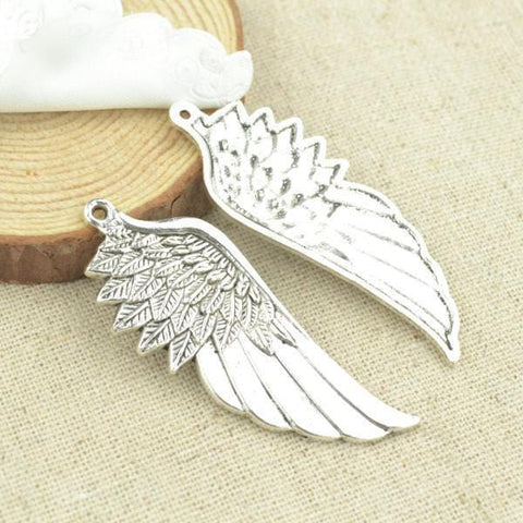 5 pcs Anituqe Silver Angel Wings Charms Charm  56*22mm