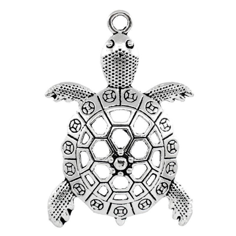 5 PCs Hollow Turtle Antique Silver Turtle Charms 5.7x3.9cm