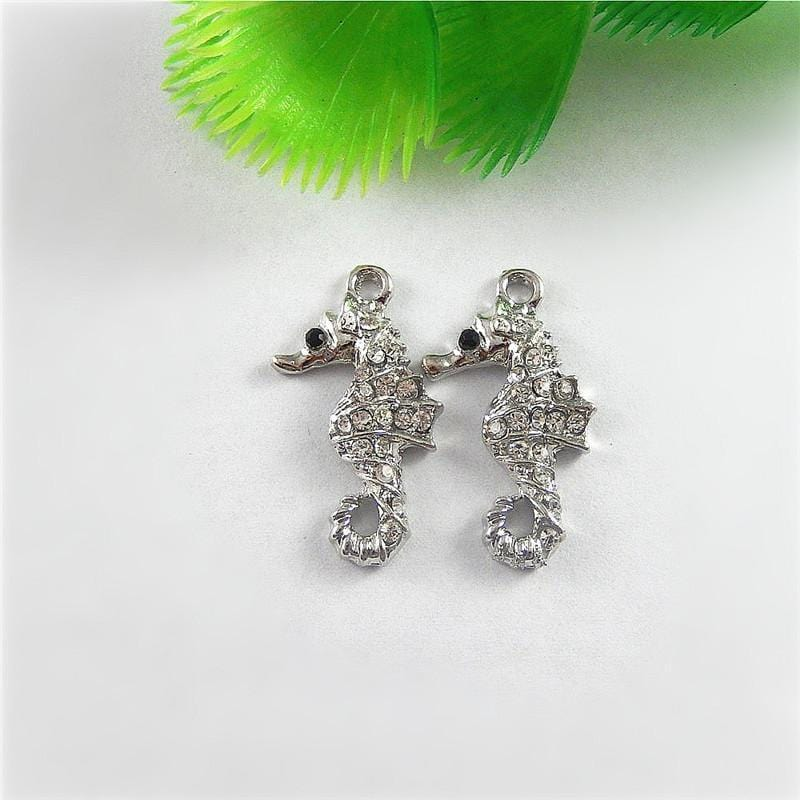 5 PCS Silver Rhinestone Sea Horse Charms 28*16*5mm