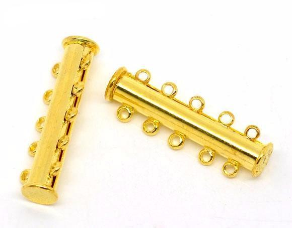 5 Sets Gold Plated 5-Strands Magnetic Slide Clasps 30x10 mm