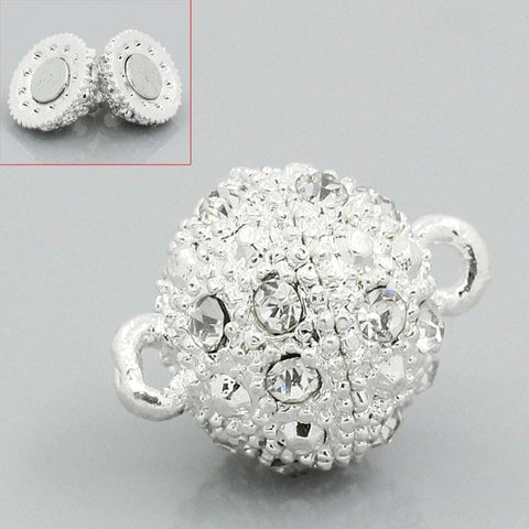 5 Sets Silver  Rhinestone Ball Magnetic Clasps