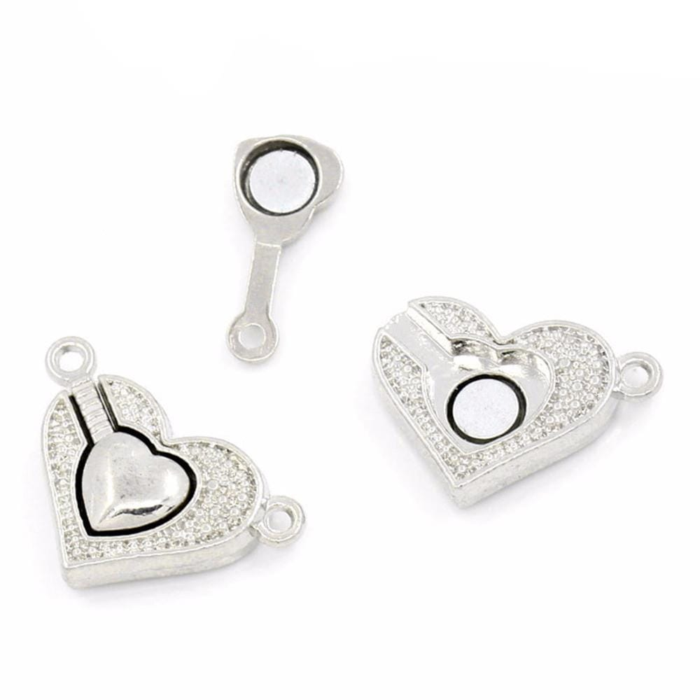 "5 Sets Silver Tone Heart Magnetic Clasps 25x15mm( 1""x5/8"")"
