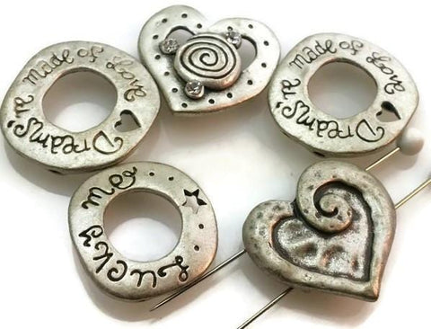 5 Unique 2 hole Slider Inspirational Beads m162-f1