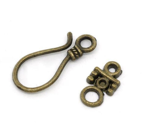 50_Antique_Bronze_Hook_Toggle_Clasps_Findings_23x10mm_14x8mm