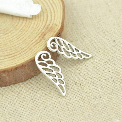 50 pcs 23*9 mm Antique silver angel wing charms great for layering