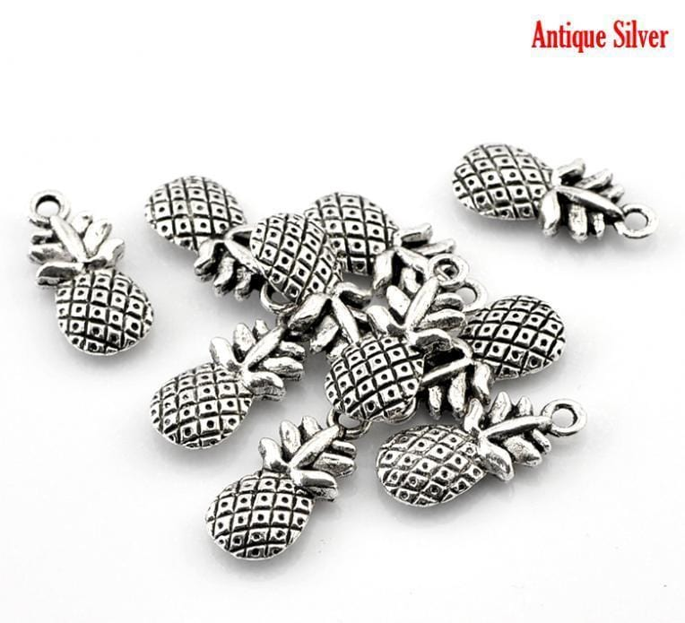 "50  Silver Pineapple Charms 9x9mm(6/8""x3/8"")"
