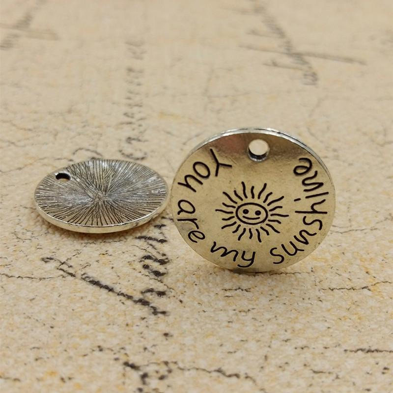 "50 ""You are my sunshine"" 22mm  Disc Round Charms"
