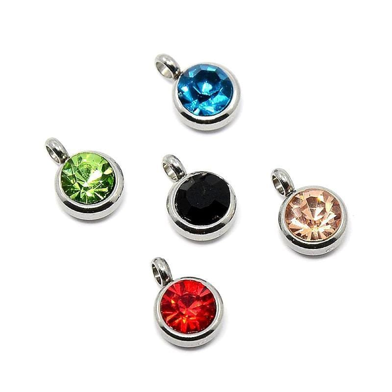 50pcs_304_Stainless_Steel_Grade_A_Rhinestone_Flat_Round_Charm_Pendants,_Faceted,_Mixed_Color,_9x6.5x4mm