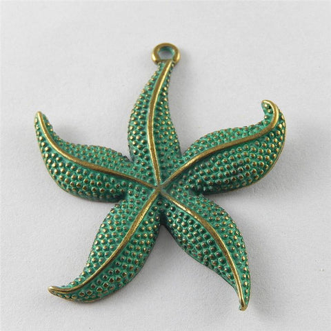 5pcs Antique Green Bronze Charms Starfish  48*43*3mm