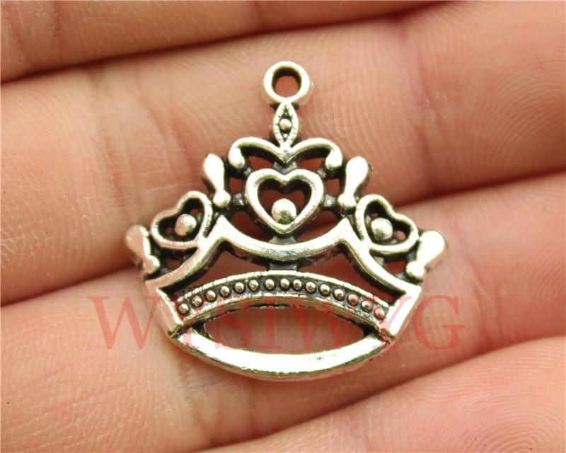 5pcs  Antique Silver Color Crown Charms