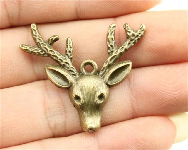 5pcs Deer Charms, Vintage DIY Handmade Jewelry - mobile-boutique.com