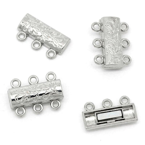 5PCs_Magnetic_Clasps_Silver_3_Strand_Carved_Patterns_Clasp_9x14mm