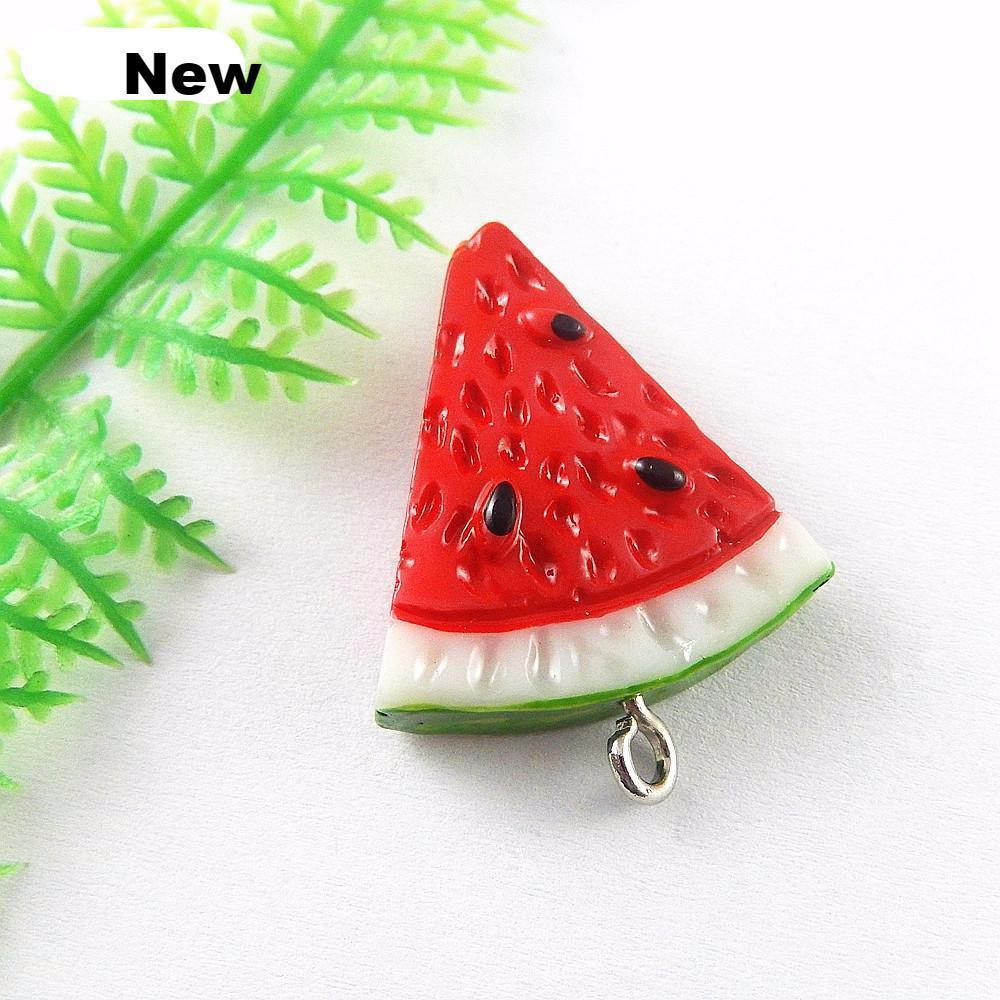 5PCs  Mini Resin Charms Red Color Watermelon Charms