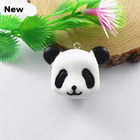 5PCs Mini White+Black Resin Charms Panda Bear Charms