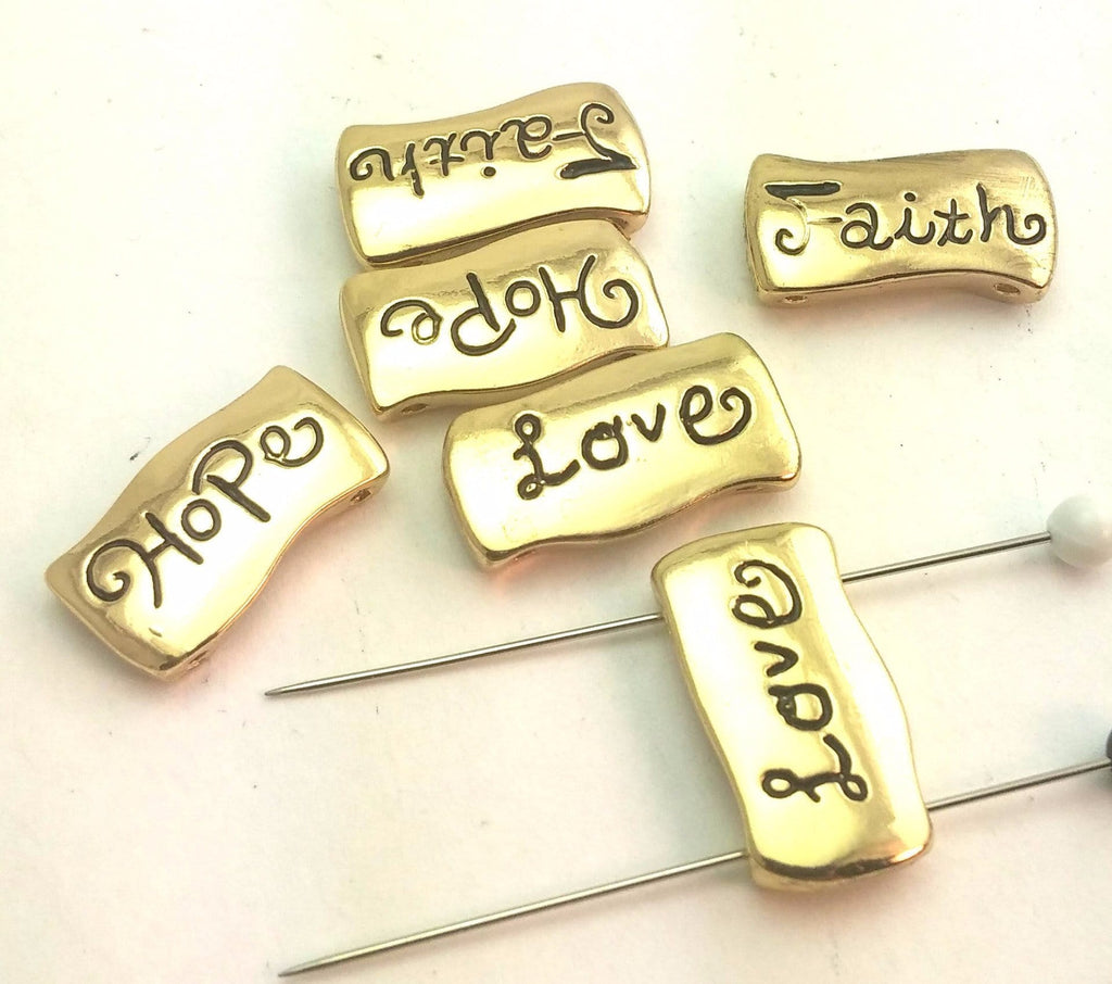 6 bright gold inspirational words 2 hole beads e6-f4