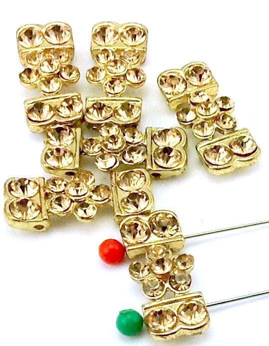 6 bright gold topaz cz 2 hole slider beads-I1