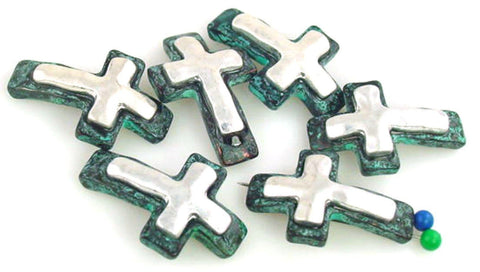 6 Cross Patina 2 Hole Slider Beads  11146-n10