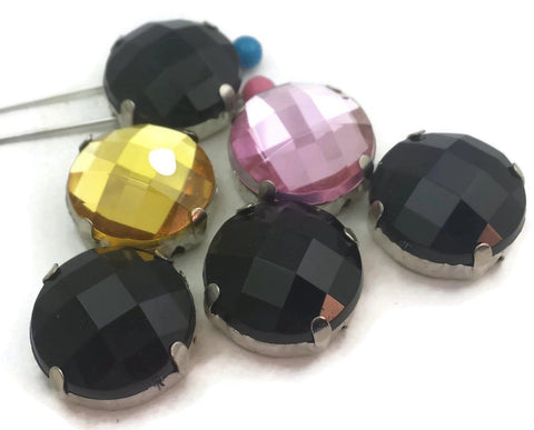 6 Faceted Lucite 2 Hole Slider Beads D322-m3