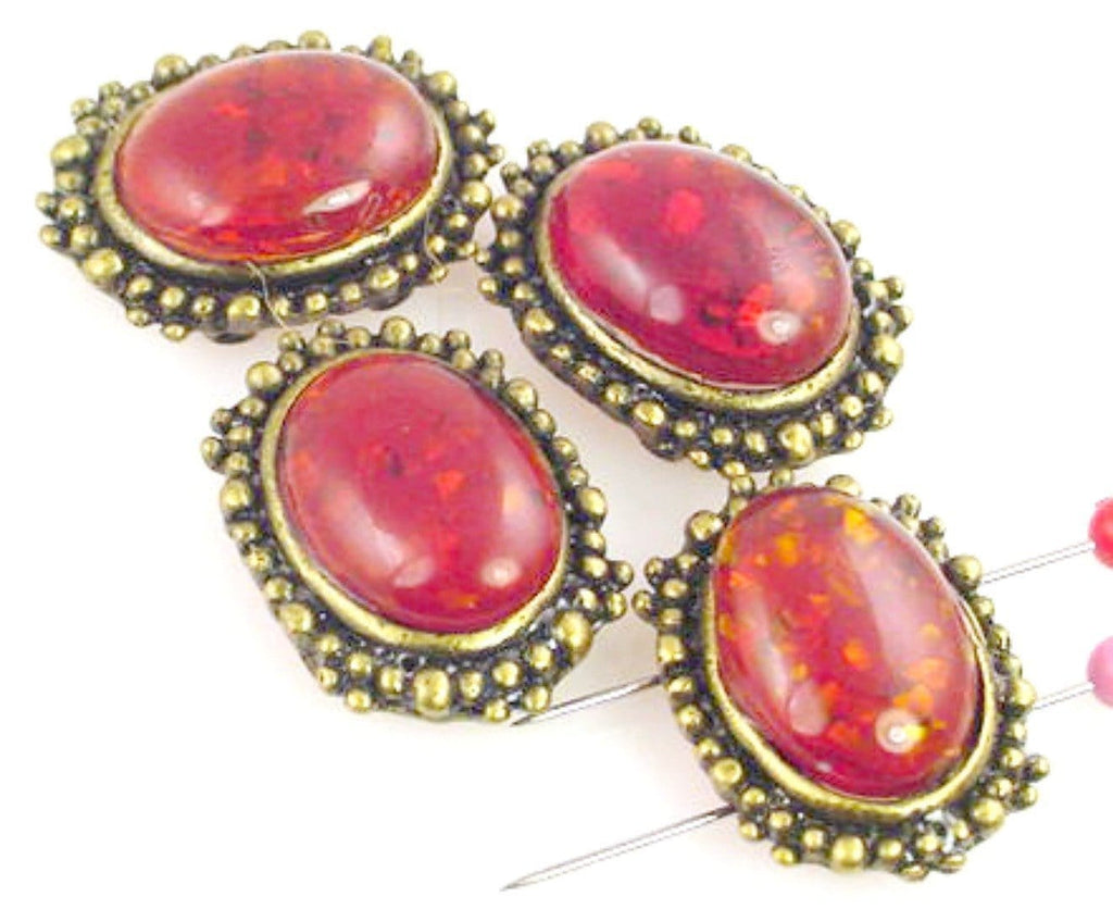 6 Faux Amber 2 Hole Slider Beads 11082-Q1