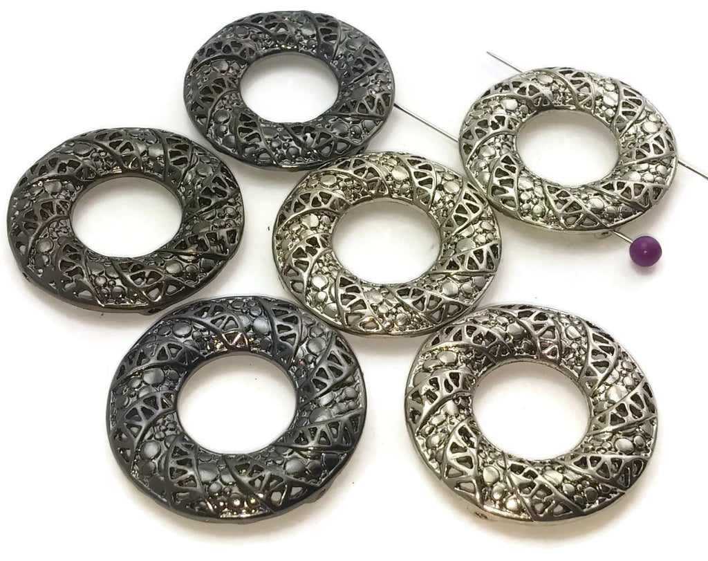 6 Gun Metal and Platinum Silver in a Donut Shape 2 Hole Slider Beads 203-H3