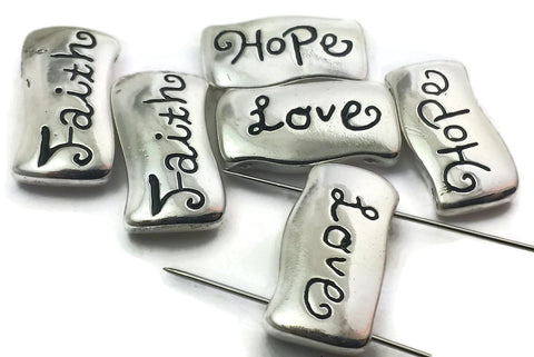 6 inspirational silver 2 hole slider beads 8346-F10