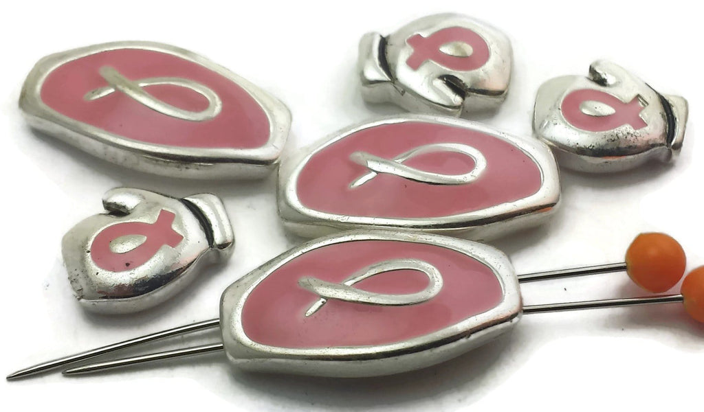 6 Pink Ribbon and Silver 2 hole beads Slider beads 12295-F10