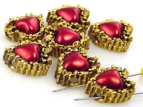 6 Red Heart Slider Beads 2 Hole Beads 8019-h10