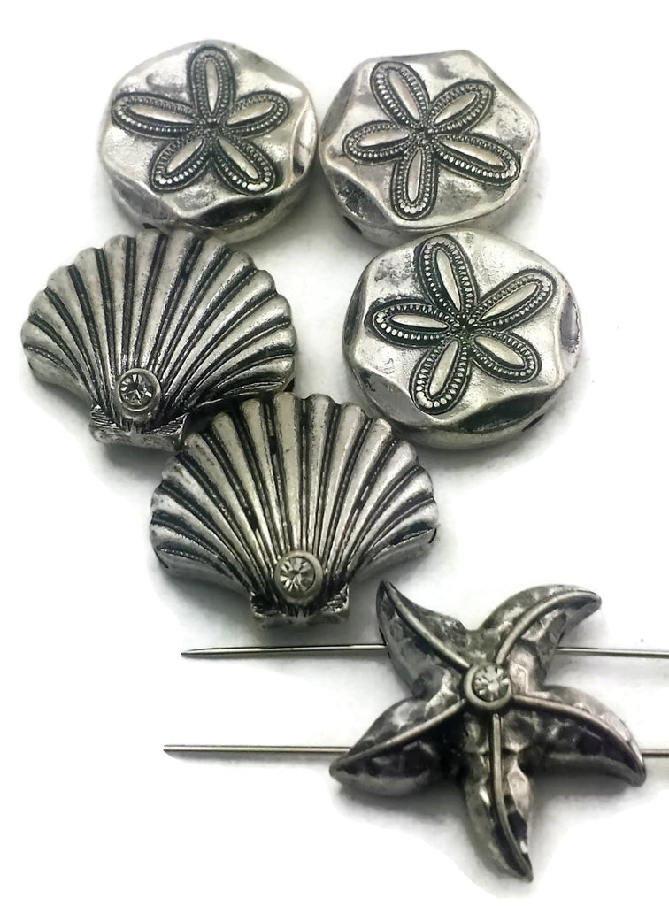 6 sea life 2 hole slider beads 11605-N1