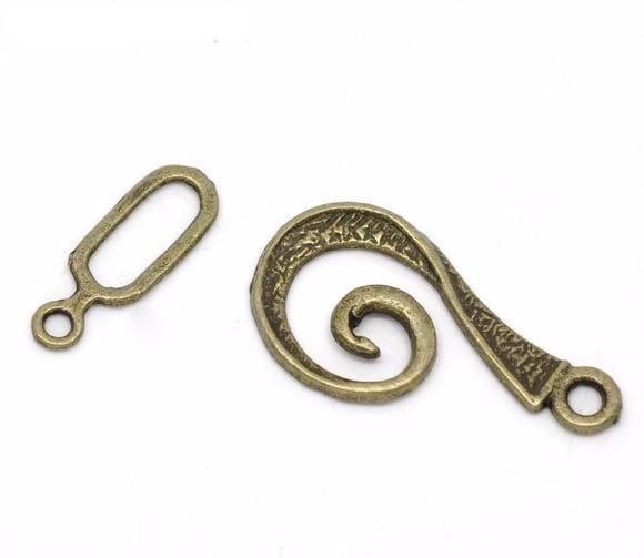 60 Bronze Tone Swirl Toggle Clasps 26x12mm,16x6mm