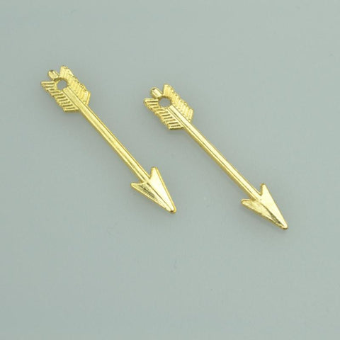60pcs_30*5mm_Gold_Arrow_Charms