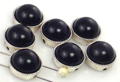 7 black lucite 2 hole beads 8144-M11