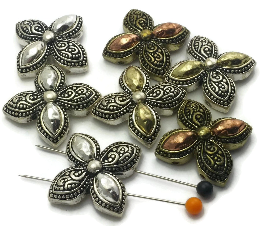7_Floral_Antqiue_Silver,_Copper_and_Gold_2_hole_Slider_Beads_m229_-_M2