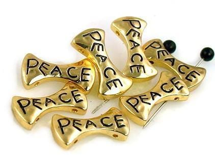 7 Inspirational 2 Hole Beads Peace Gold Bead Metal Castings 7314-f3