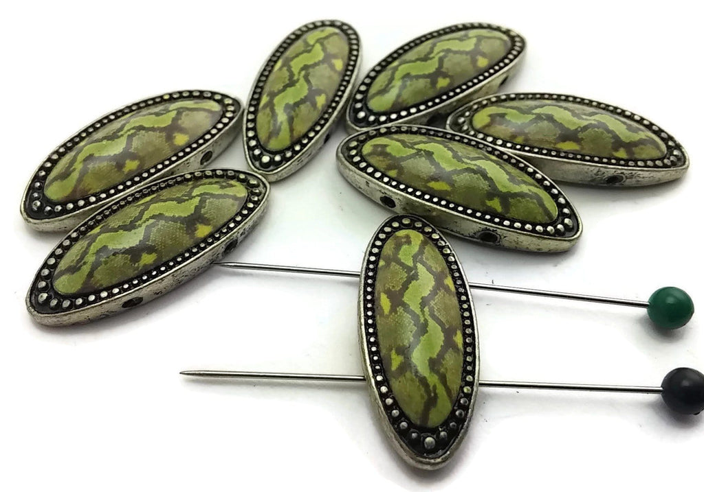 7 Large Green Snake skin like 2 hole beads 7428-H5