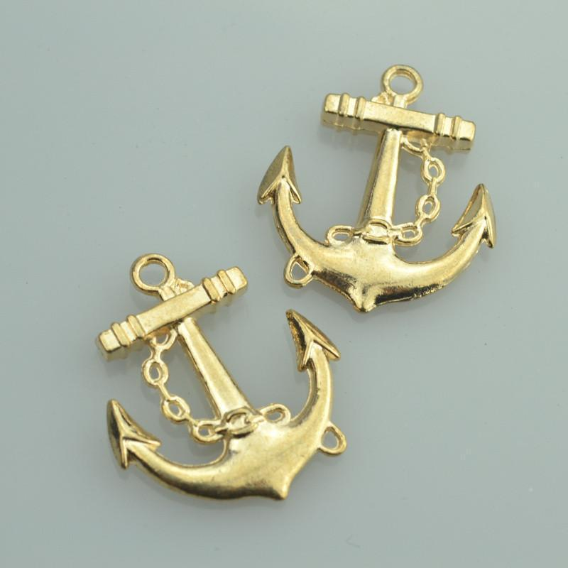 7 pcs  gold charms anchor Great for Mixed Metal Designs