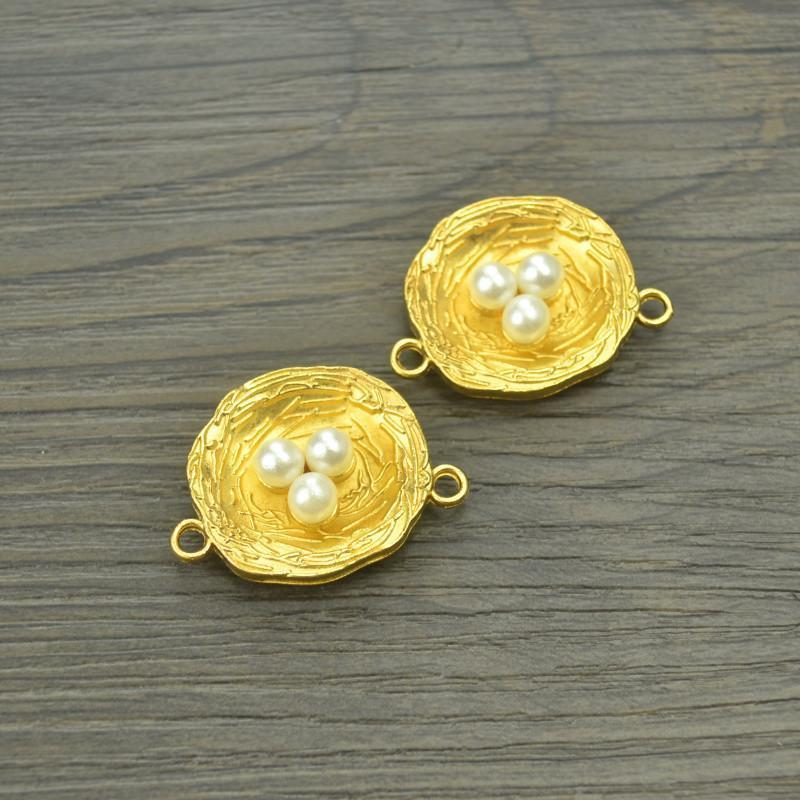 7_pcs_gold_color_Imitation_pearls_Charms_metal_nest_30*22_mm