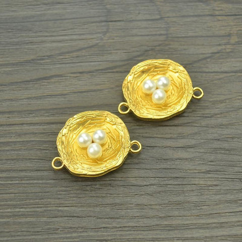7 pcs gold color Imitation pearls Charms metal nest 30*22 mm