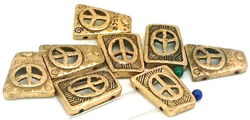 7 peace hippie antique gold 2 hole sliders  B161-I1