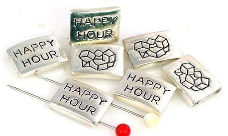 7 Silver happy hour 2 Hole Beads Slider Beads 7808-N3