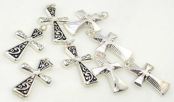 8 bright silver cross christian charm charms 8328-F7