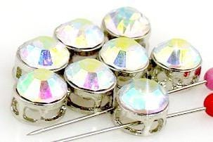 8 clear AB cz rhinestone slider beads 11095-S1
