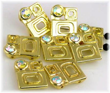 8 Clear CZ 2 hole beads gold bead slider beads 7305-N3