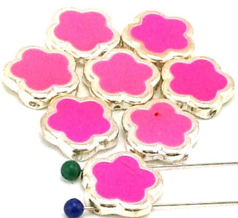 8_hot_pink_enamal_flowers_slider_2_hole_beads_B101-M18