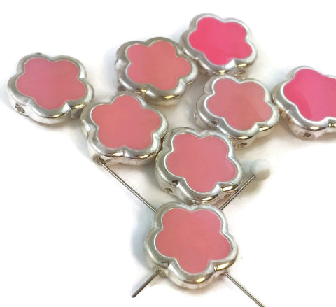 8 pink enamel bright silver floral 2 hole beads d41-H4